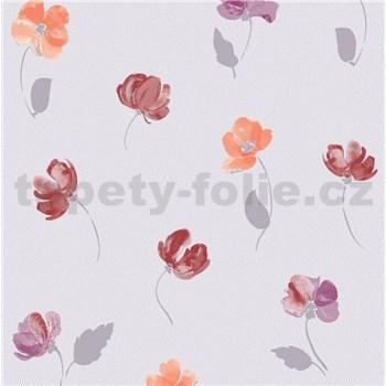 Vliesové tapety na zeď Nizza drobné kvítky červené, fialové, oranžové