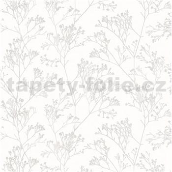 Vliesové tapety na zeď Daphne stonky lesklé světle hnědé na bílém podkladu