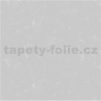 Vliesové tapety na zeď Daphne stonky lesklé stříbrno-šedé na šedém podkladu