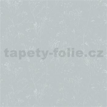 Vliesové tapety na zeď Daphne stonky lesklé stříbrné na světle zeleném podkladu