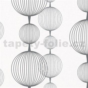 Vliesové tapety na zeď Alizé koule černo-stříbrné na bílém podkladu