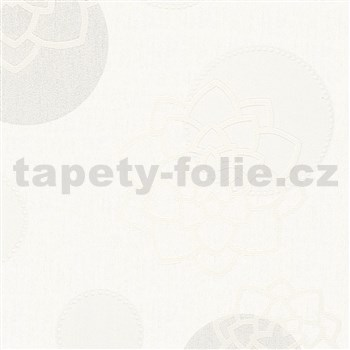 Vliesové tapety na zeď Belinda květiny béžové na bílém podkladu