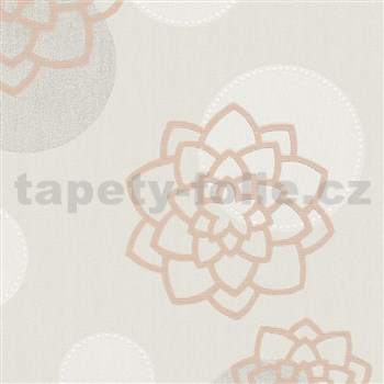Vliesové tapety na zeď Belinda květiny hnědé na béžovém podkladu