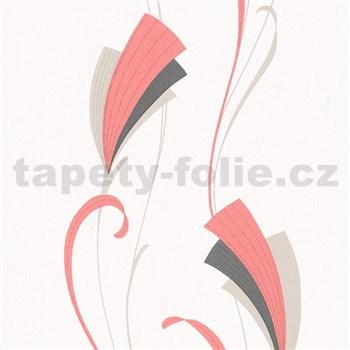 Vliesové tapety na zeď Chelsea moderní květ červeno-černý s třpytkami