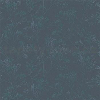 Vliesové tapety na zeď Daphne stonky lesklé zeleno-modré na tmavě modrém podkladu