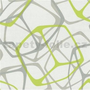 Vliesové tapety na zeď Poco - 3D kostky zeleno-stříbrné