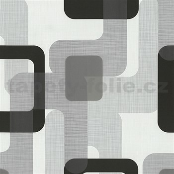 Vliesové tapety na zeď Novara moderní čtverce černé