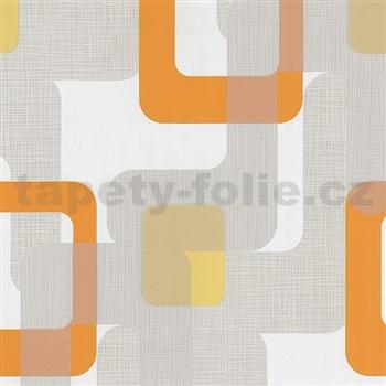 Vliesové tapety na zeď Novara moderní čtverce oranžové