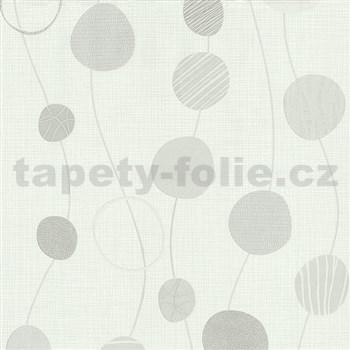 Vliesové tapety na zeď Novara kolečka světle šedé na bílém podkladu MEGA SLEVA
