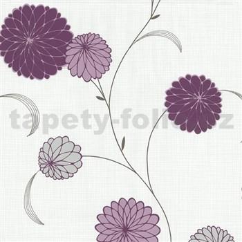Vliesové tapety na zeď Novara květy fialové - POSLEDNÍ KUSY