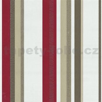 Vliesové tapety na zeď Novara pruhy červeno-hnědé