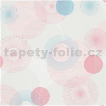 Vliesové tapety na zeď IMPOL Novara 3 paprskovité kruhy růžovo-modré na bílém podkladu