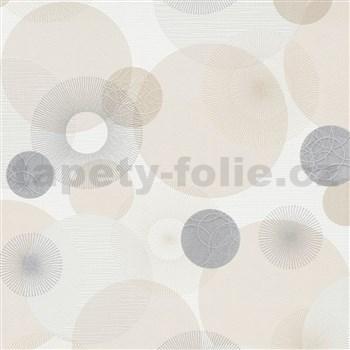 Vliesové tapety na zeď IMPOL Novara 3 paprskovité kruhy béžovo-šedé na bílém podkladu
