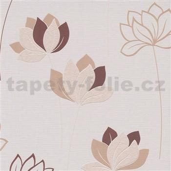 Vliesové tapety na zeď IMPOL Novara 3 květy hnědé na krémovém podkladu