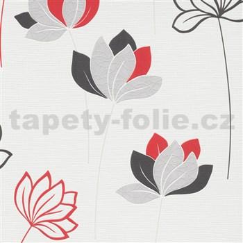 Vliesové tapety na zeď IMPOL Novara 3 květy červeno-šedé na bílém podkladu