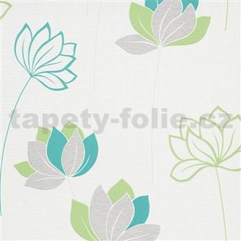 Vliesové tapety na zeď IMPOL Novara 3 květy zeleno-šedé na bílém podkladu