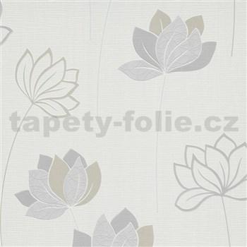 Vliesové tapety na zeď IMPOL Novara 3 květy šedo-hnědé na bílém podkladu
