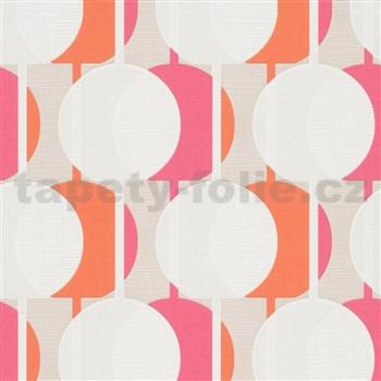 Vliesové tapety na zeď IMPOL Novara 3 korálkový vzor vzor růžovo-oranžový s třpytkami