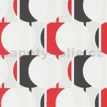 Vliesové tapety na zeď IMPOL Novara 3 korálkový vzor vzor červeno-tmavě šedý s třpytkami