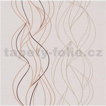 Vliesové tapety na zeď IMPOL Novara 3 vlnovky hnědo-béžové na krémovém podkladu