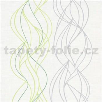Vliesové tapety na zeď IMPOL Novara 3 vlnovky zeleno-šedé na bílém podkladu