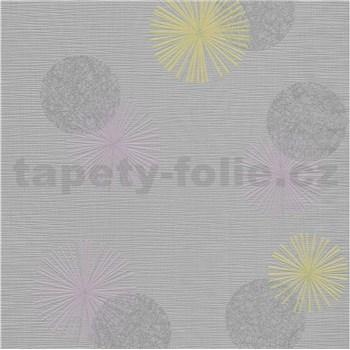 Vliesové tapety na zeď Novara 3 moderní kruhy žluté, fialové a šedé s lesklými efekty