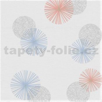 Vliesové tapety na zeď Novara 3 barevné moderní kruhy na bílém podkladu - POSLEDNÍ KUSY