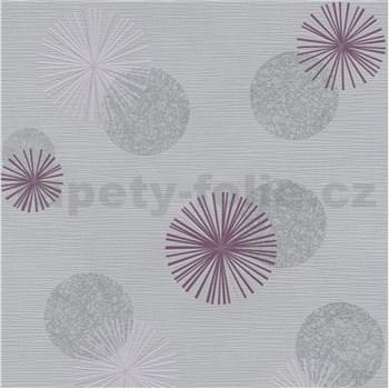 Vliesové tapety na zeď Novara 3 moderní kruhy šedé a fialové s lesklými efekty