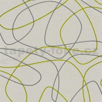 Vliesové tapety na zeď Novara 3 linky zeleno-stříbrné na bílém podkladu