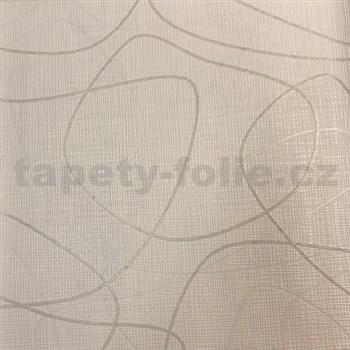 Vliesové tapety na zeď Novara 3 linky lesklé krémové a stříbrné na béžovém podkladu