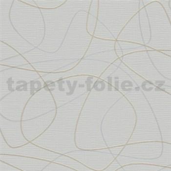 Vliesové tapety na zeď Novara 3 linky lesklé bílé a zlaté na světle hnědém podkladu