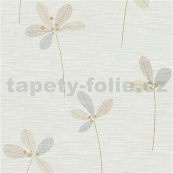 Vliesové tapety na zeď Novara 3 lístky béžové se zlatými stonky na bílém podkladu