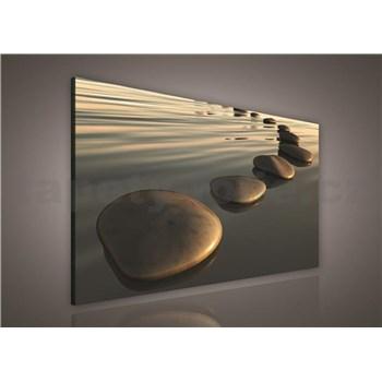 Obraz na plátně písečná pláž s kameny 75 x 100 cm