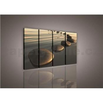 Obraz na plátně písečná pláž s kameny 120 x 80 cm
