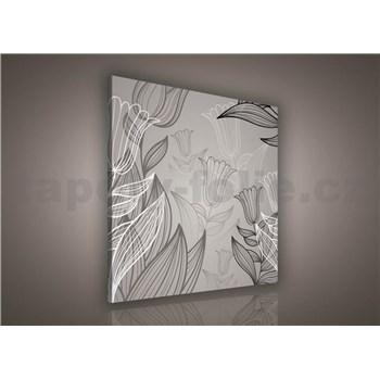 Obraz na plátně listy s tulipány 80 x 80 cm