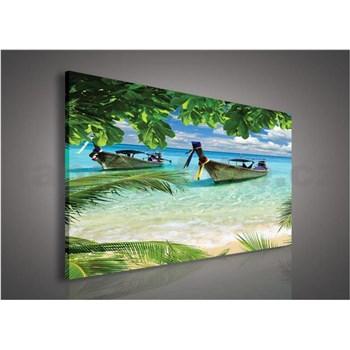 Obraz na plátně lodě v zálivu 75 x 100 cm
