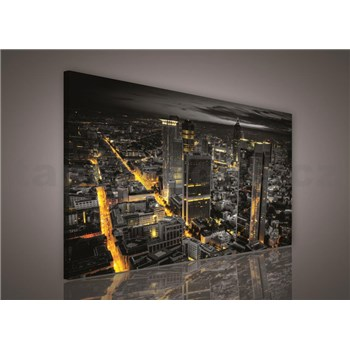 Obraz na plátně Frankfurt v noci 75 x 100 cm