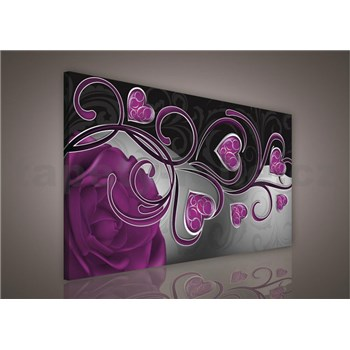 Obraz na plátně srdce s fialovou růží 75 x 100 cm