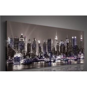 Obraz na plátně velkoměsto v noci černo-bílý 145 x 45 cm