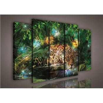 Obraz na plátně jaguár v džungli 150 x 100 cm