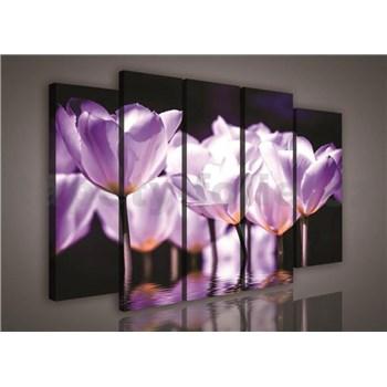 Obraz na plátně fialové květy 150 x 100 cm
