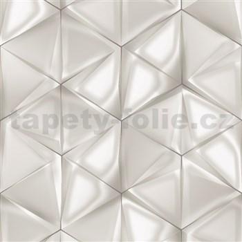 Vliesové tapety na zeď IMPOL Onyx 3D hexagony světle šedo-hnědé