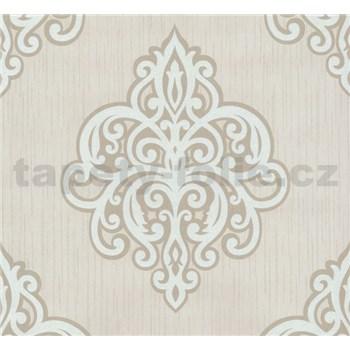 Vliesové tapety na zeď Opal ornament bílý na krémovém podkladu