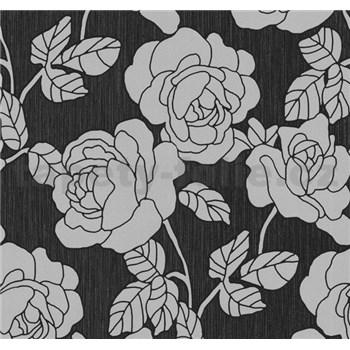 Vliesové tapety na zeď Opal květy na černém podkladu s jemným třpytem