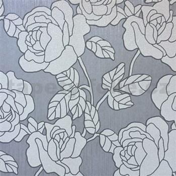 Vliesové tapety na zeď Opal květy šedo-stříbrné na šedém podkladu s jemným třpytem