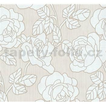 Vliesové tapety na zeď Opal květy na krémovém podkladu s jemným třpytem