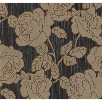 Vliesové tapety na zeď Opal květy zlato-hnědé na černém podkladu s jemným třpytem