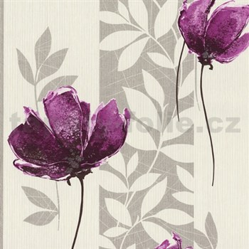 Vliesové tapety na zeď Origin - vlčí mák fialový se stříbrnými listy na krémovém podkladu