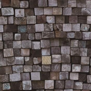 Vliesové tapety na zeď Origin - dřevěná mozaika modro-hnědá