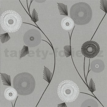 Vliesové tapety na zeď Patchwork - květy šedo-bílé
